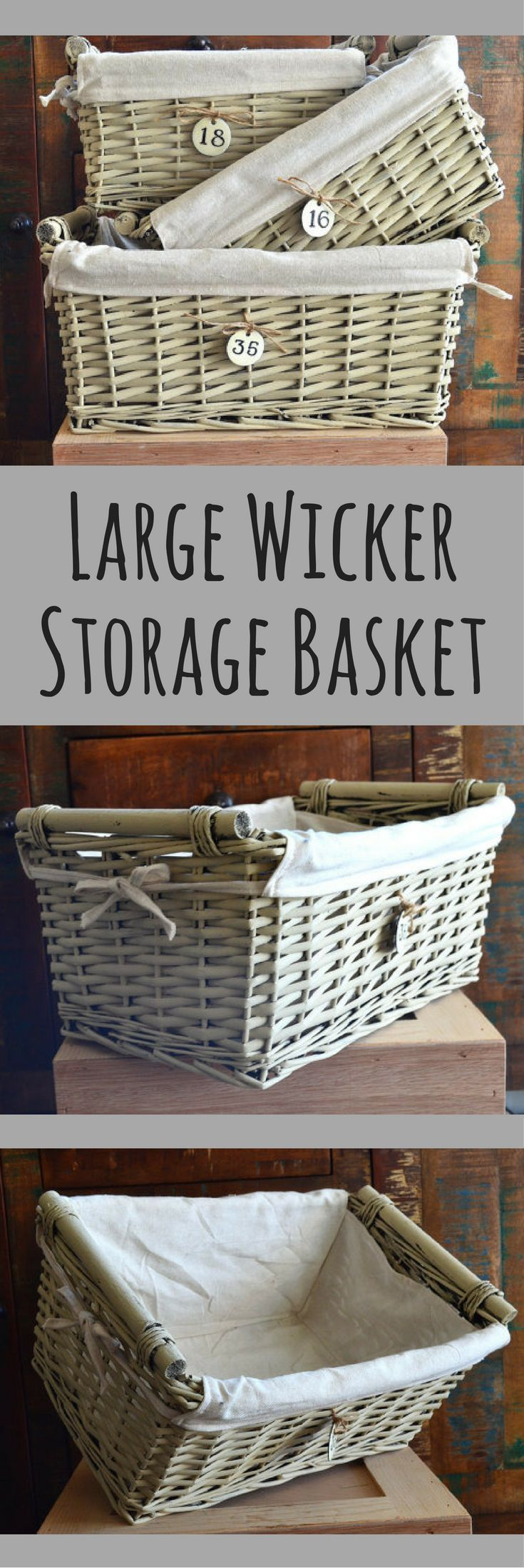 Large Wicker Storage Basket With Liner And Metal Number Tag Handmade Hand Painted Muslin Neutral Decor Farmhouse Nursery