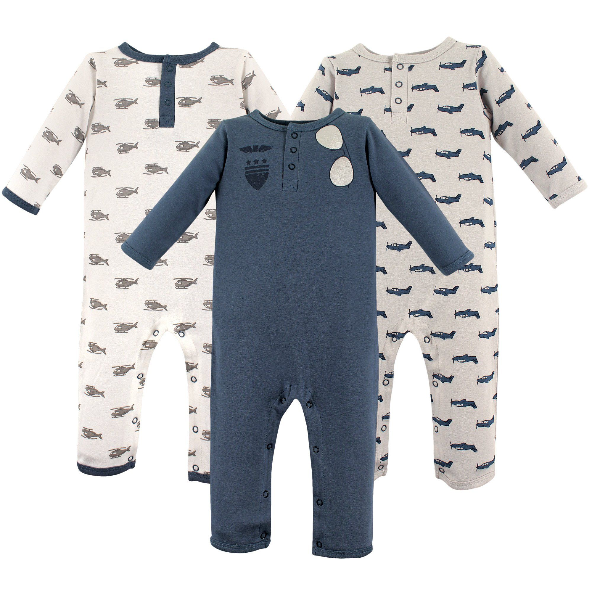 Hudson Baby Baby Cotton Union Suit 3 Pack Aviator 12 18 Months