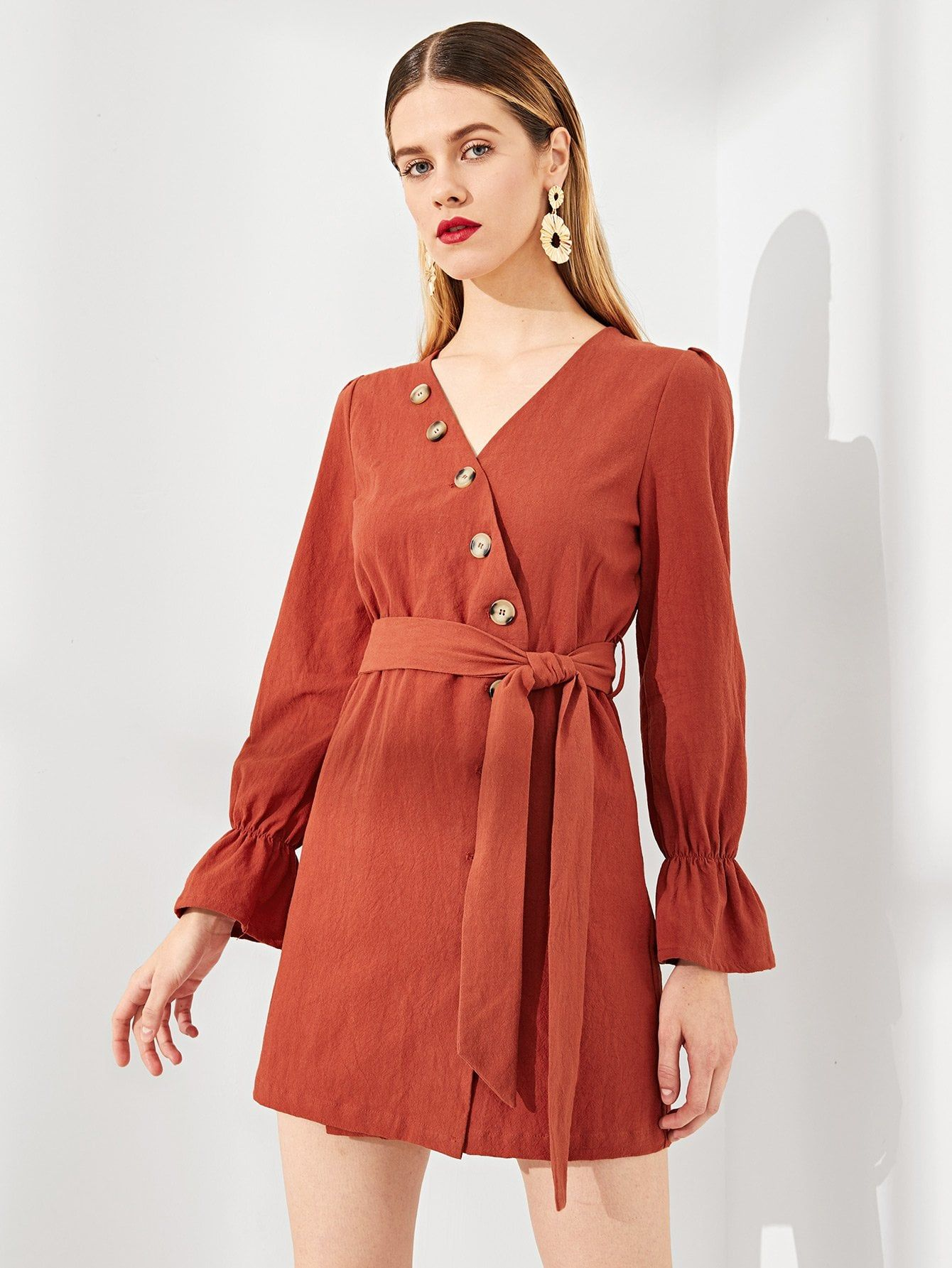 6677becdb1 Casual Wrap and Button Plain Shift V Neck Long Sleeve Natural Rust Short  Length Button Up Wrap Bell Sleeve Solid Dress