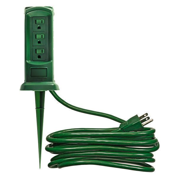 Outdoor Power Outlet Yard Stake 3 Grounded Outlets Outdoor Christmas Lights Outdoor Christmas Christmas Central