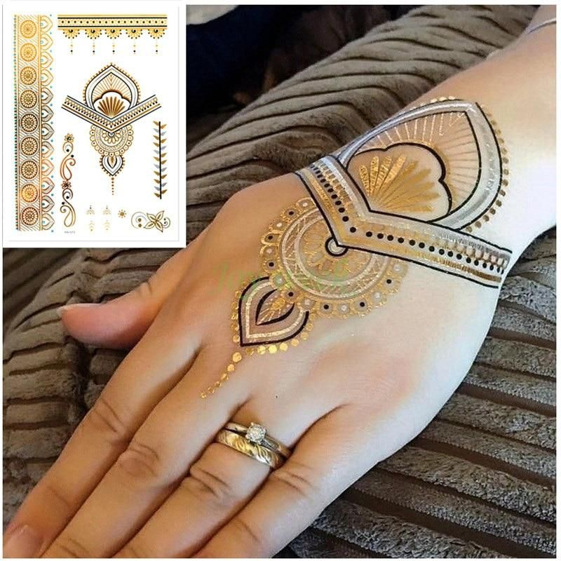 Diy Flash Tattoo Gold Silver Metallic Temporary Mandala Tattoos Body Art Makeup Flash Tattoos Gold Full Sleeve Tattoos Gold Tattoo