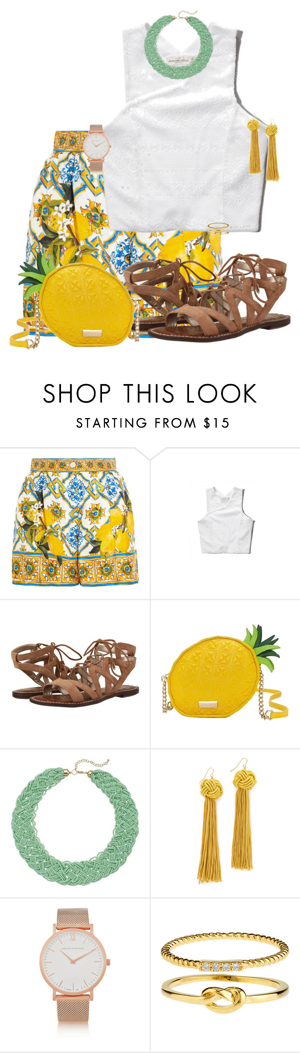 """""""S - Shopping"""" by kaciwiens on Polyvore featuring Dolce&Gabbana, Abercrombie & Fitch, Sam Edelman, Kate Spade, Vanessa Mooney, Larsson & Jennings and Accessorize"""