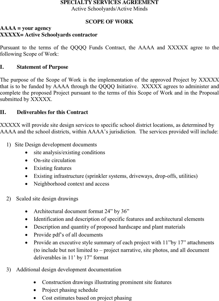 Awesome Work Statement Template U003e Scope Of Work Template
