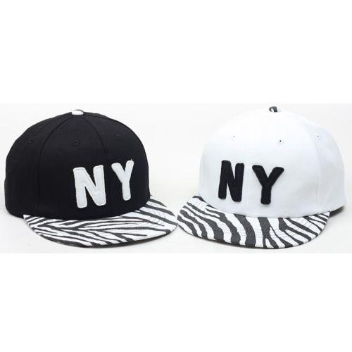 NY Logo Design Zebra Pattern Flat Bill Cap Hip Hop Snapback Hat CTH1 ... f2efc9a6fd3