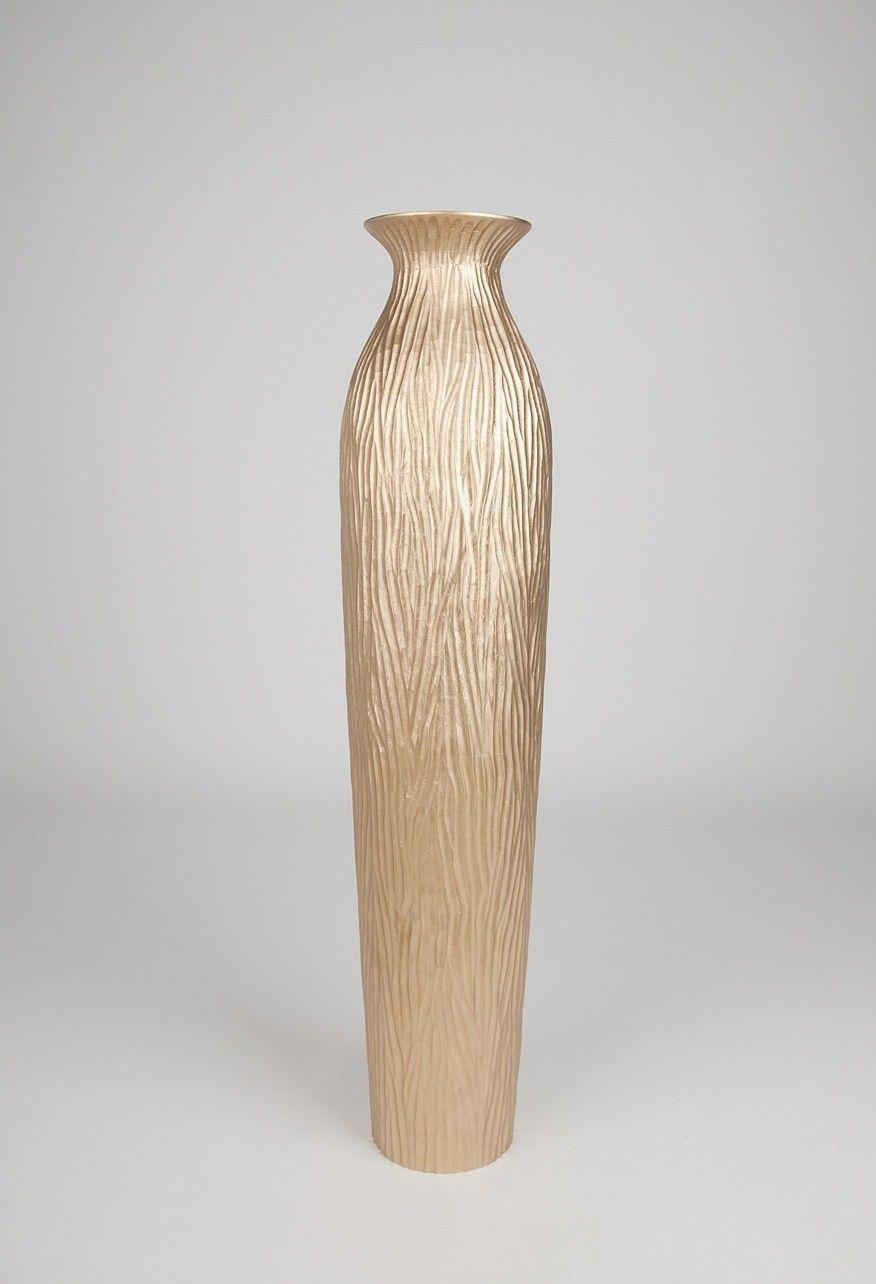 Vase Grande Taille Grand Vase Décoratif 90 Cm, Bois Du Manguier, Doré