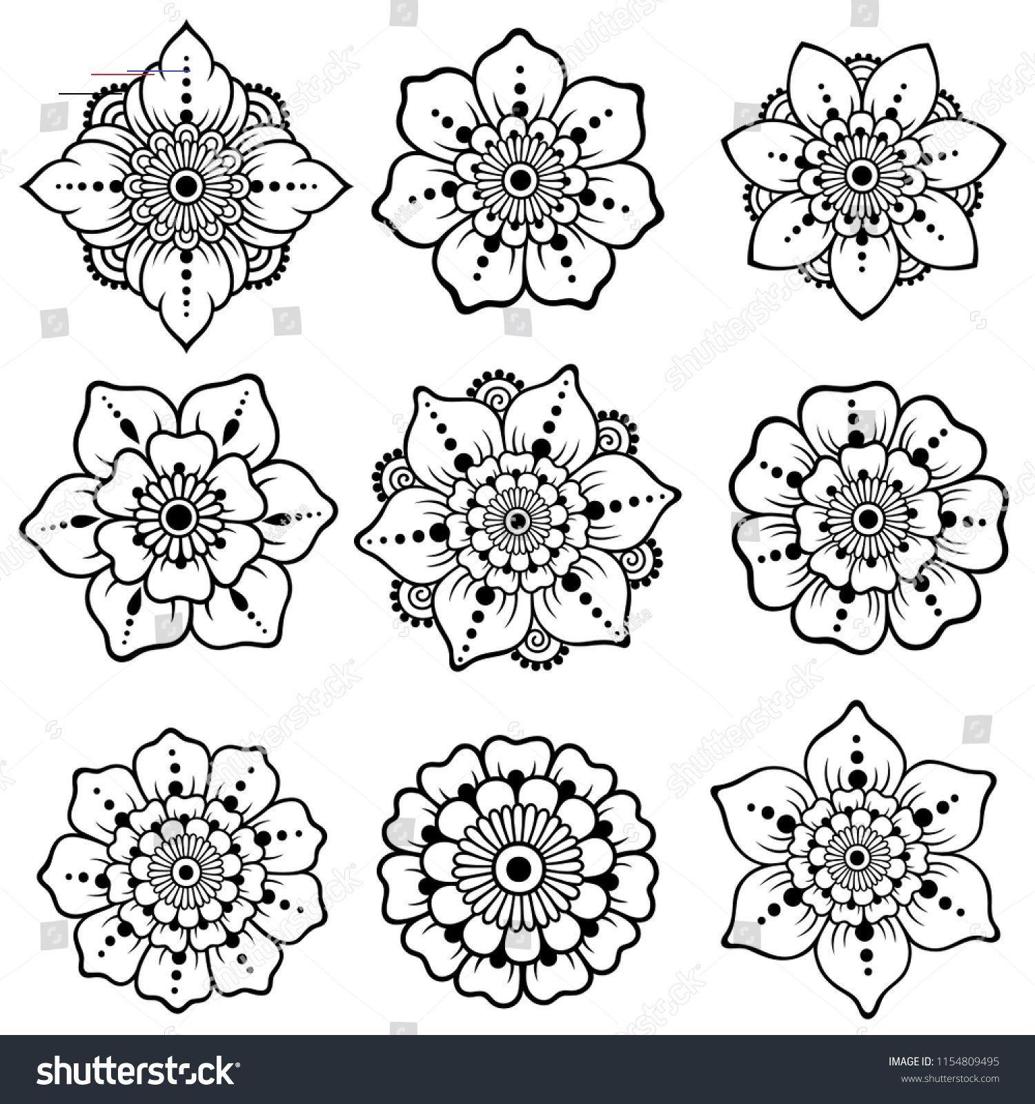 Set Mehndi Flower Pattern Henna Drawing Stock Vector Royalty Free 1154809495 Hennapatterns In 2020 Eenvoudige Henna Henna Patronen Mandala Kleurplaten