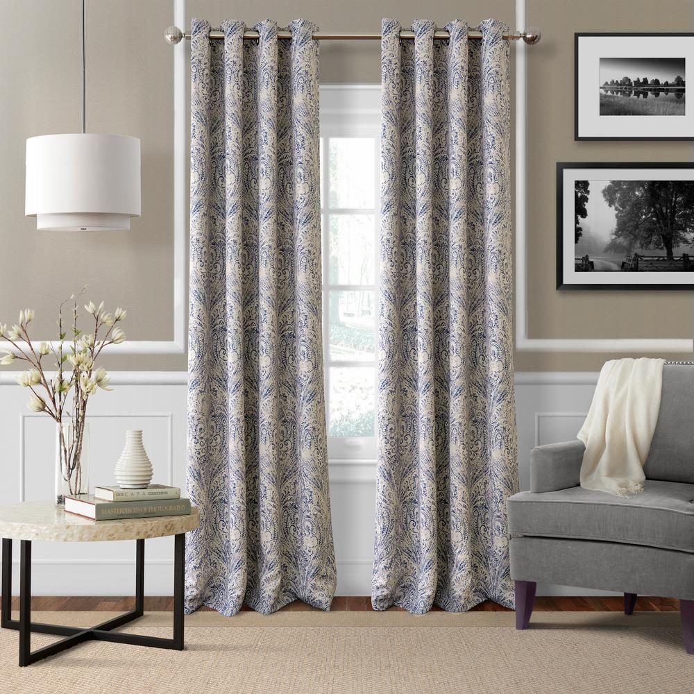 Bed bath and beyond window shades  elrene blackout julianne blue blackout window curtain panel   in