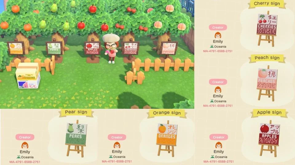 1 Made Some English Japanese Fruit Signs For My Orchard And Wanted To Share Ma 4791 6588 2751 To Grab Animal Crossing Animal Crossing Qr New Animal Crossing