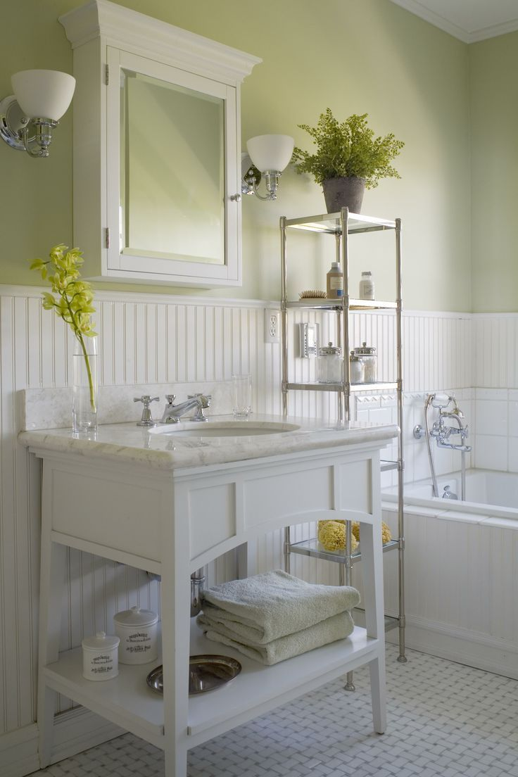Accessories Astounding Light Green Bathroom Decoration Using White Beadboard Wainscotting Along With Wall And Marble Console