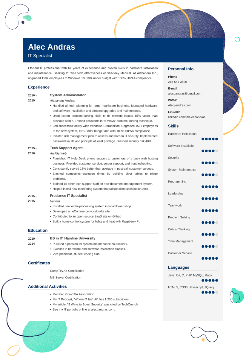 It Resume Technical Resume Sample 25 Examples Expert Tips Resume Examples Professional Resume Examples Basic Resume Examples