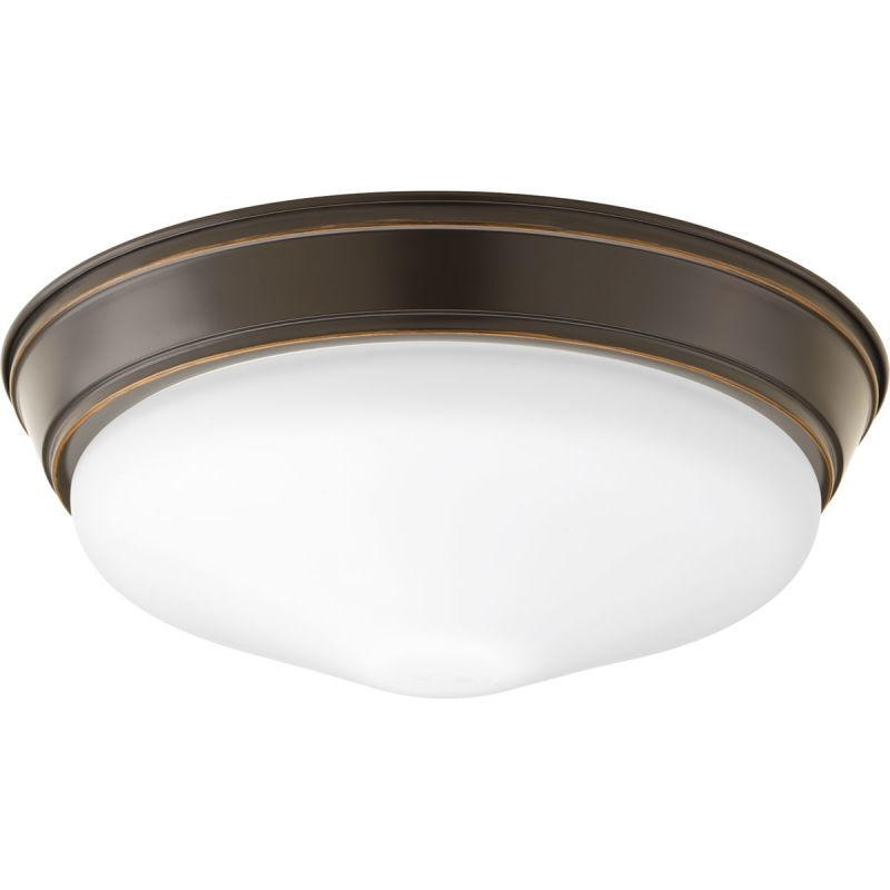 Progress Lighting P2303 Led Flush Mount Ceiling Fixture With Etched White Gl Antique Bronze