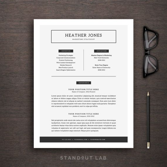 Resume Template and Cover Letter Template by StandoutLab on Etsy - resume paper