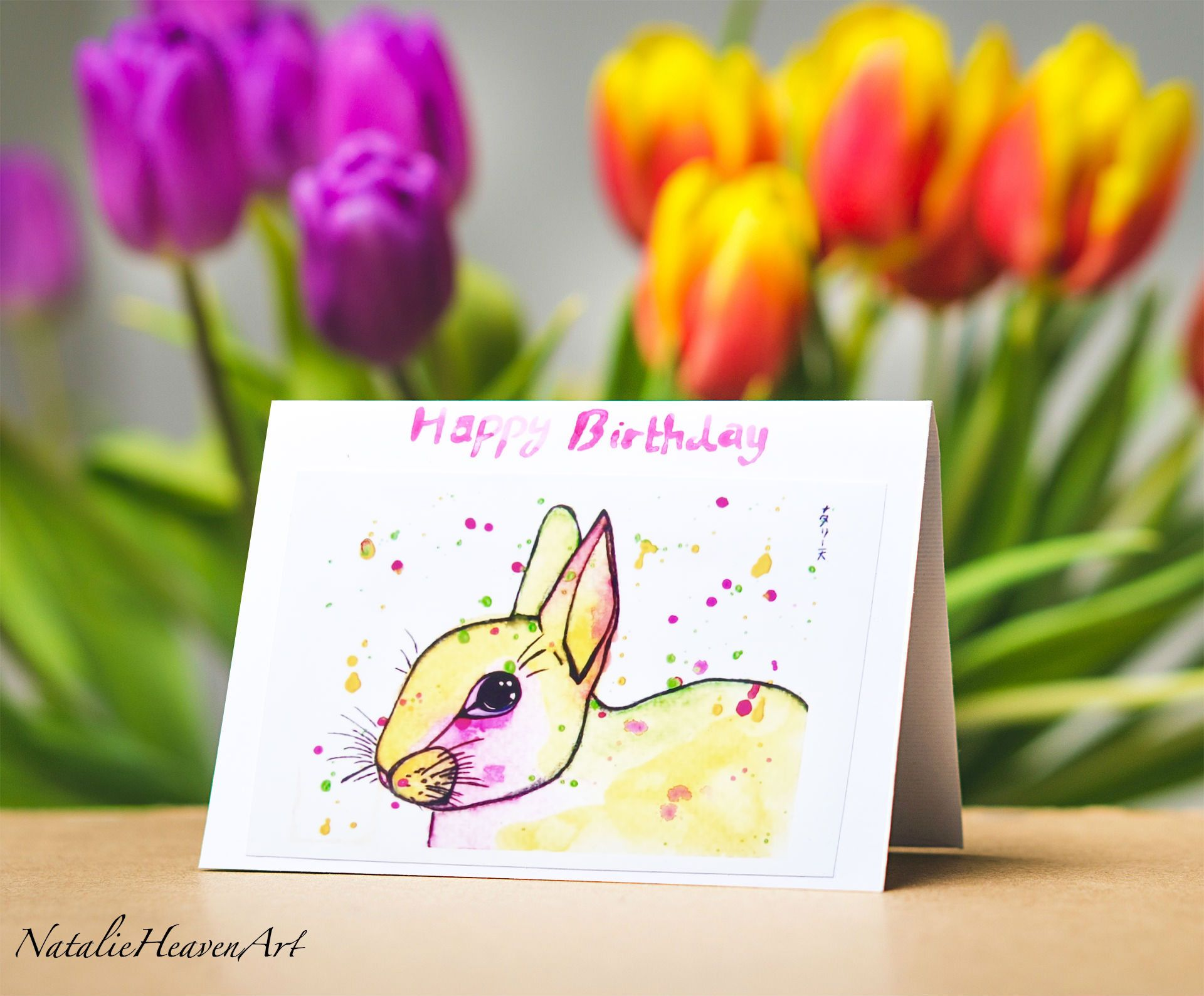 Rabbit Birthday Card Girlfriend Birthday Card Mum Birthday Card