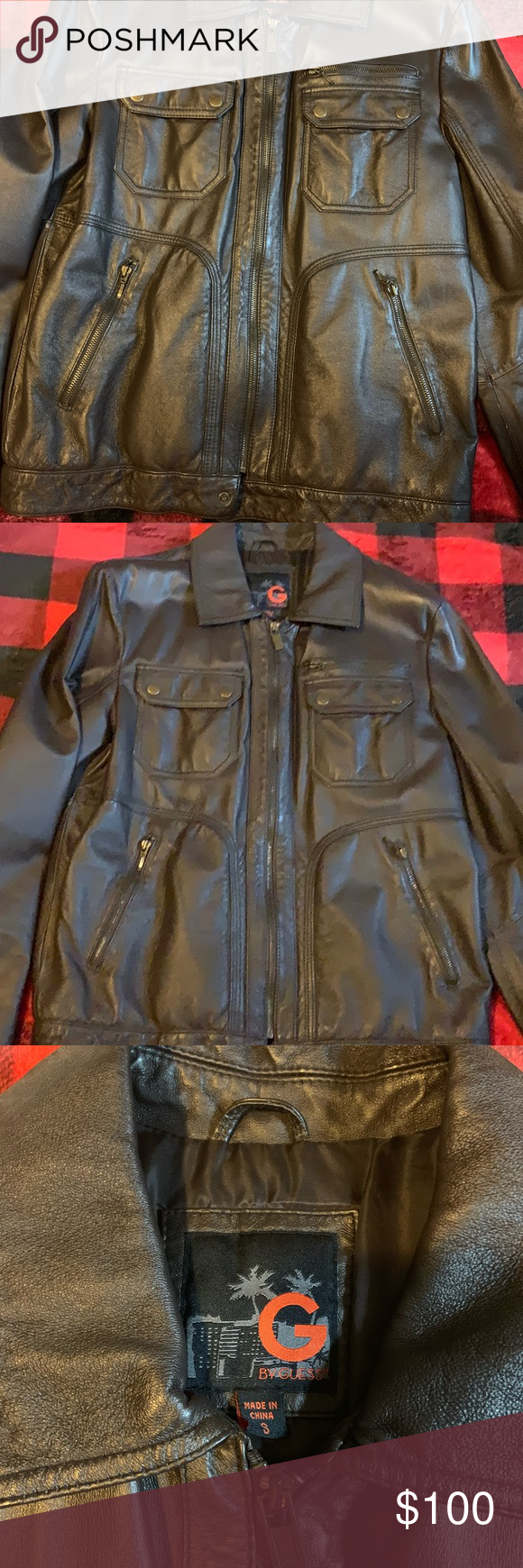 Men S Leather Brown Leather Jacket G By Guess Brown Leather Jacket Leather Leather Jacket [ 1740 x 580 Pixel ]