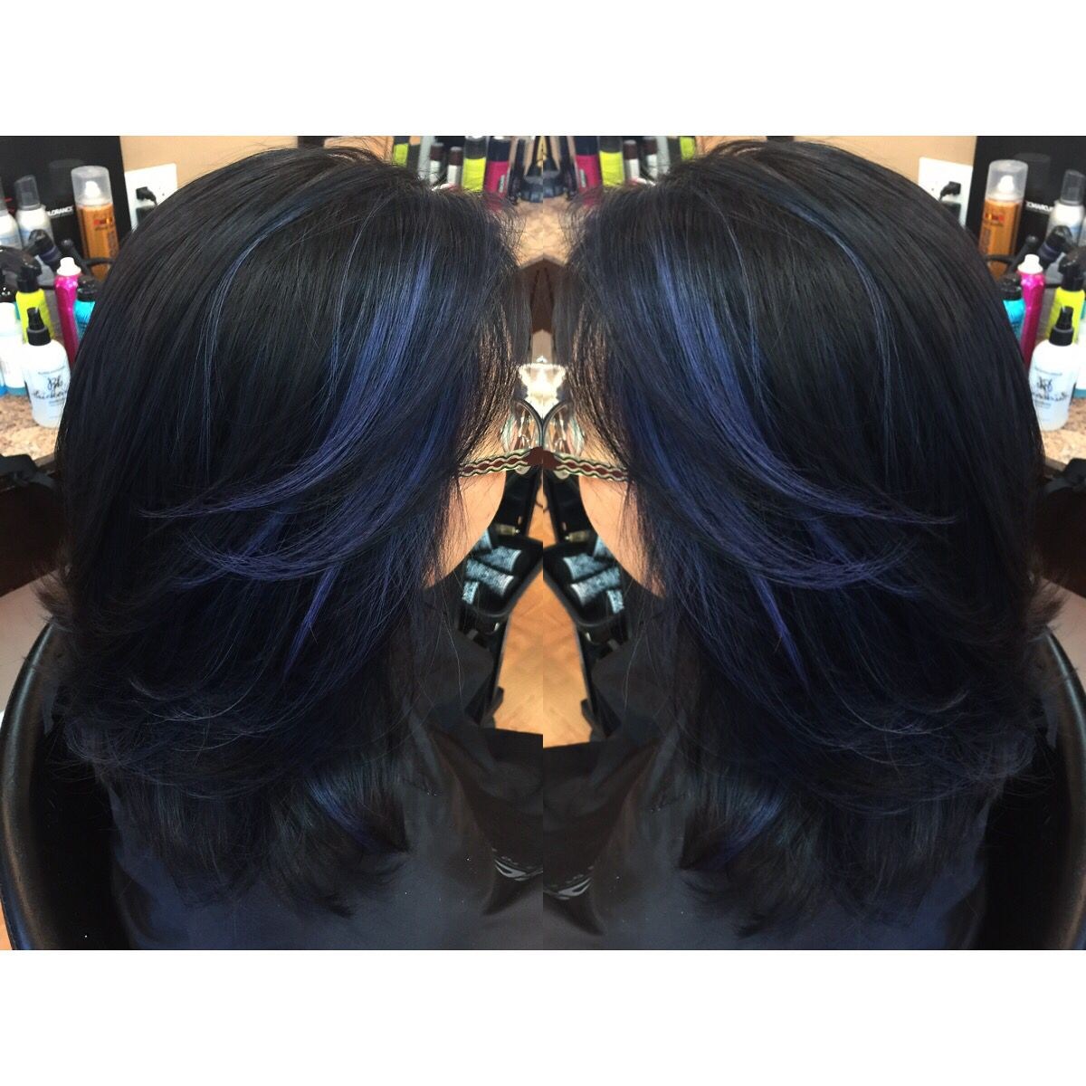 Cobalt Blue Peekaboo Highlights In Black Long Hair Hair Styles Blue Hair Blue Hair Highlights
