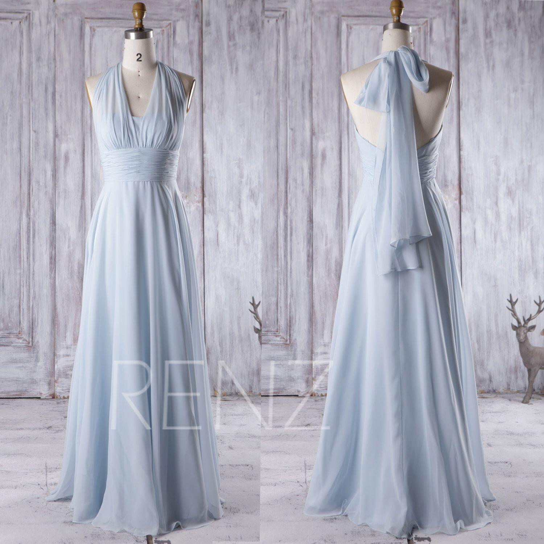 Bridesmaid Dress Light Blue Chiffon Dress,Wedding Dress,Convertible ...