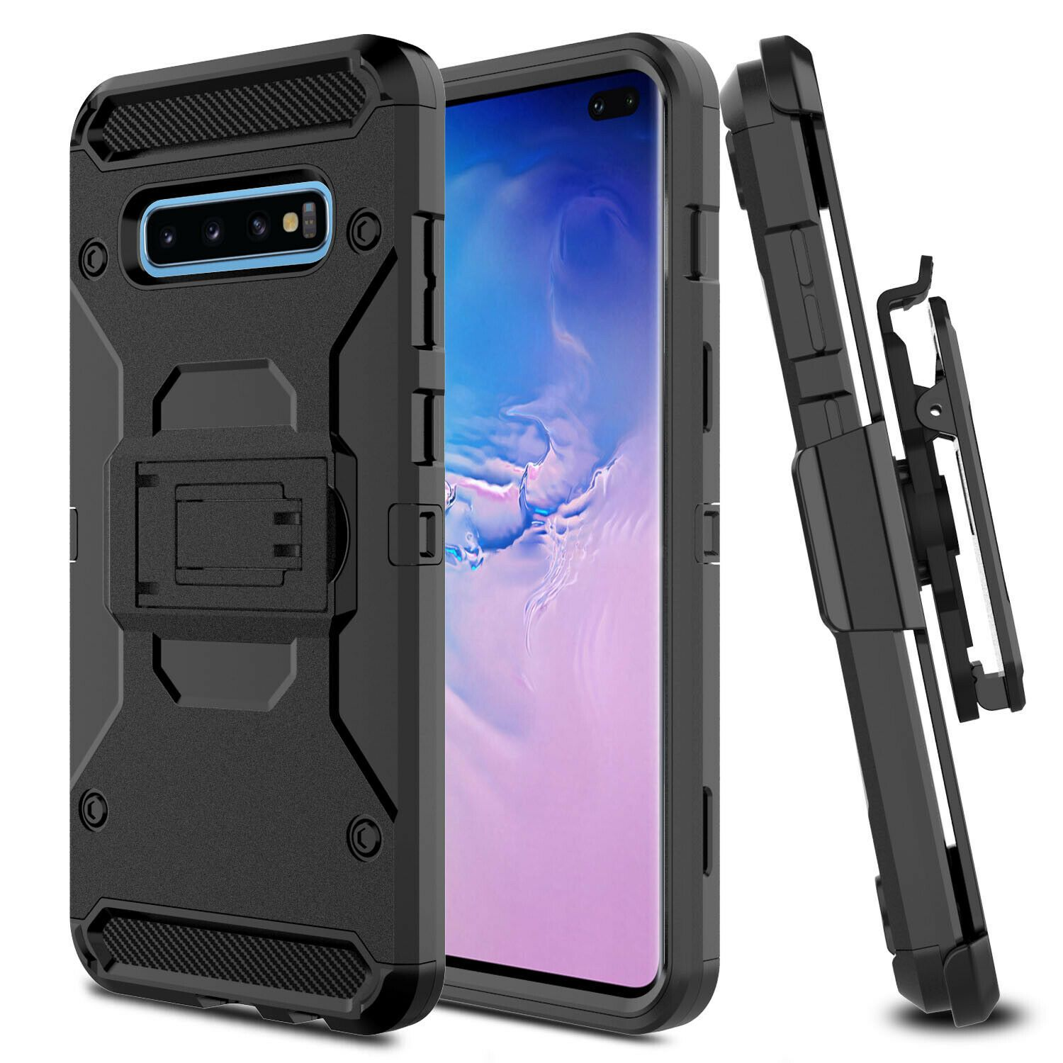 For Samsung Galaxy S10 Plus Note 9 8 S8 Hybrid Holster Clip Kickstand Case Cover Hybrid Holster Samsung Galaxy Holster