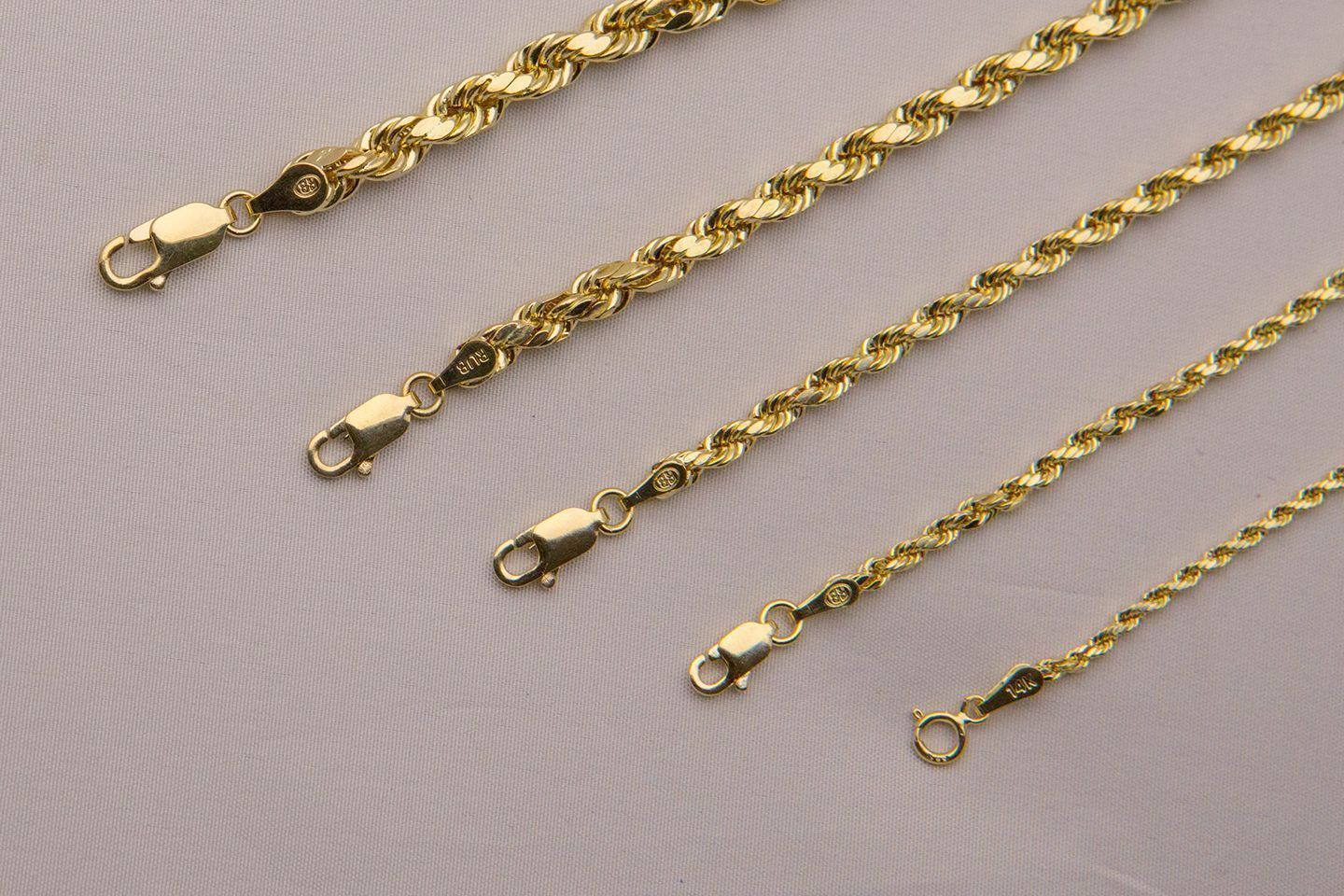 Brand New 14k Yellow Gold 2mm 5mm Italy Rope Chain Twist Link Necklace 16 30 Gold Chains For Men Fine Gold Necklace Link Necklace