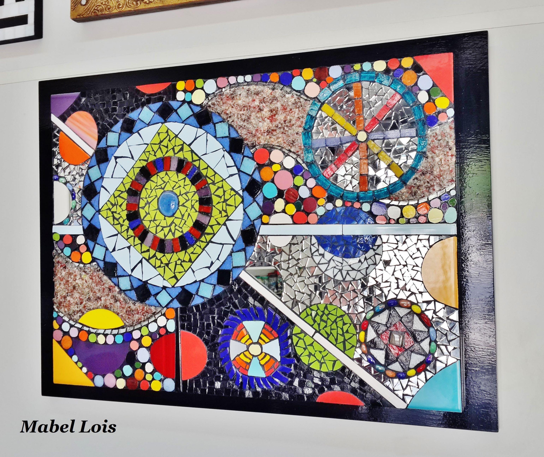 Mural mandala energetico en mosaico artistico espejos for Mosaicos para espejos