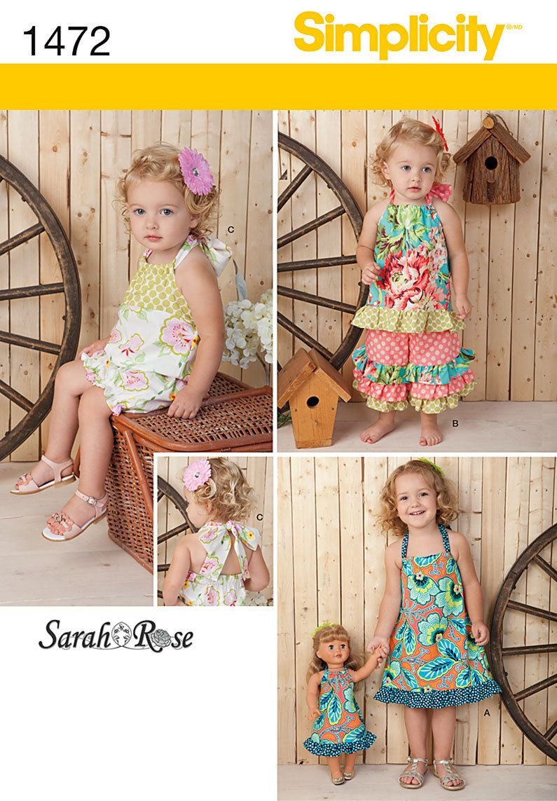 Diy Sewing Pattern-Simplicity 1472 Top, Dress Romper and Bottom ...