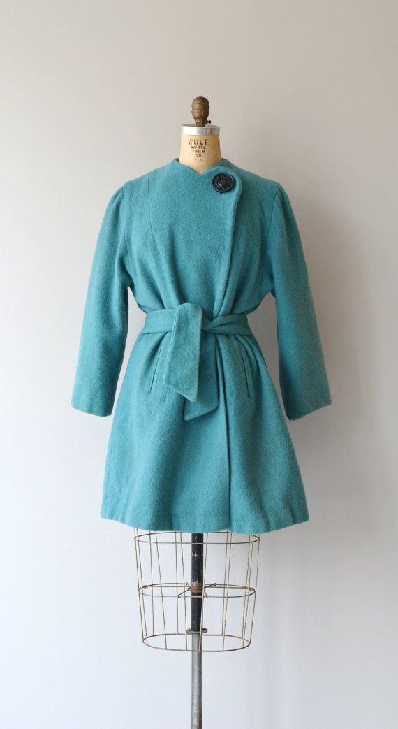 Wavelength wrap coat 1940s wool coat vintage 40s by DearGolden