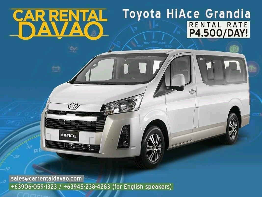There's no more reason not to enjoy a weekend trip with family when you have Toyota HiAce Grandia! Rent this today for only P4,500!  (Get a P500 discount by doing that, just use our code 24VAN919.)  To reserve this, choose from the following: 🚘 +63906-059-1323 or +63945-238-4283 (for English speakers) 🚘 sales@carrentaldavao.com  #carrentaldavao #carrental #carrentalph #carrentalphilippines #rentalcarph #rentalcar #rentacar #davaorental #davaorentals #carforrent #davao #davaocity #davaotravel