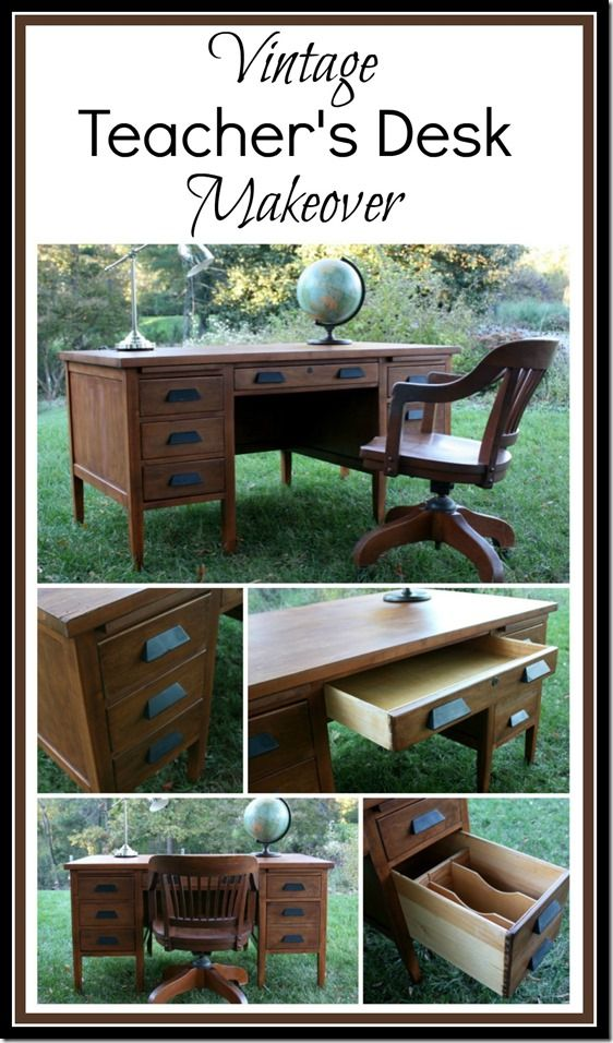 Vintage Teacher's Desk Makeover - This found at Goodwill desk got a  makeover with stain and - Vintage Teacher's Desk Makeover Desk Makeover, Desks And Vintage