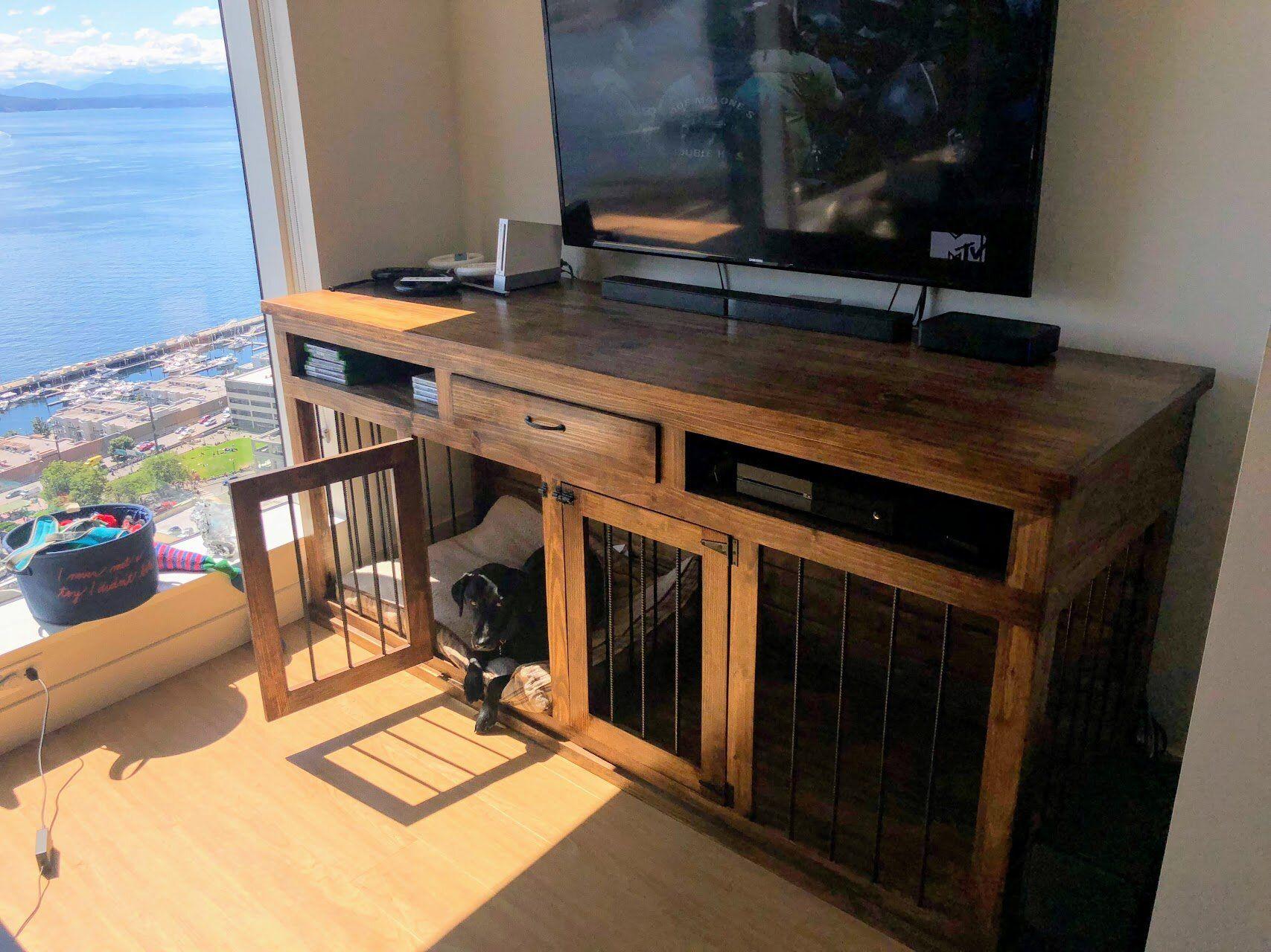 Dog Kennel Entertainment Center Custom Dog Crate Furniture For