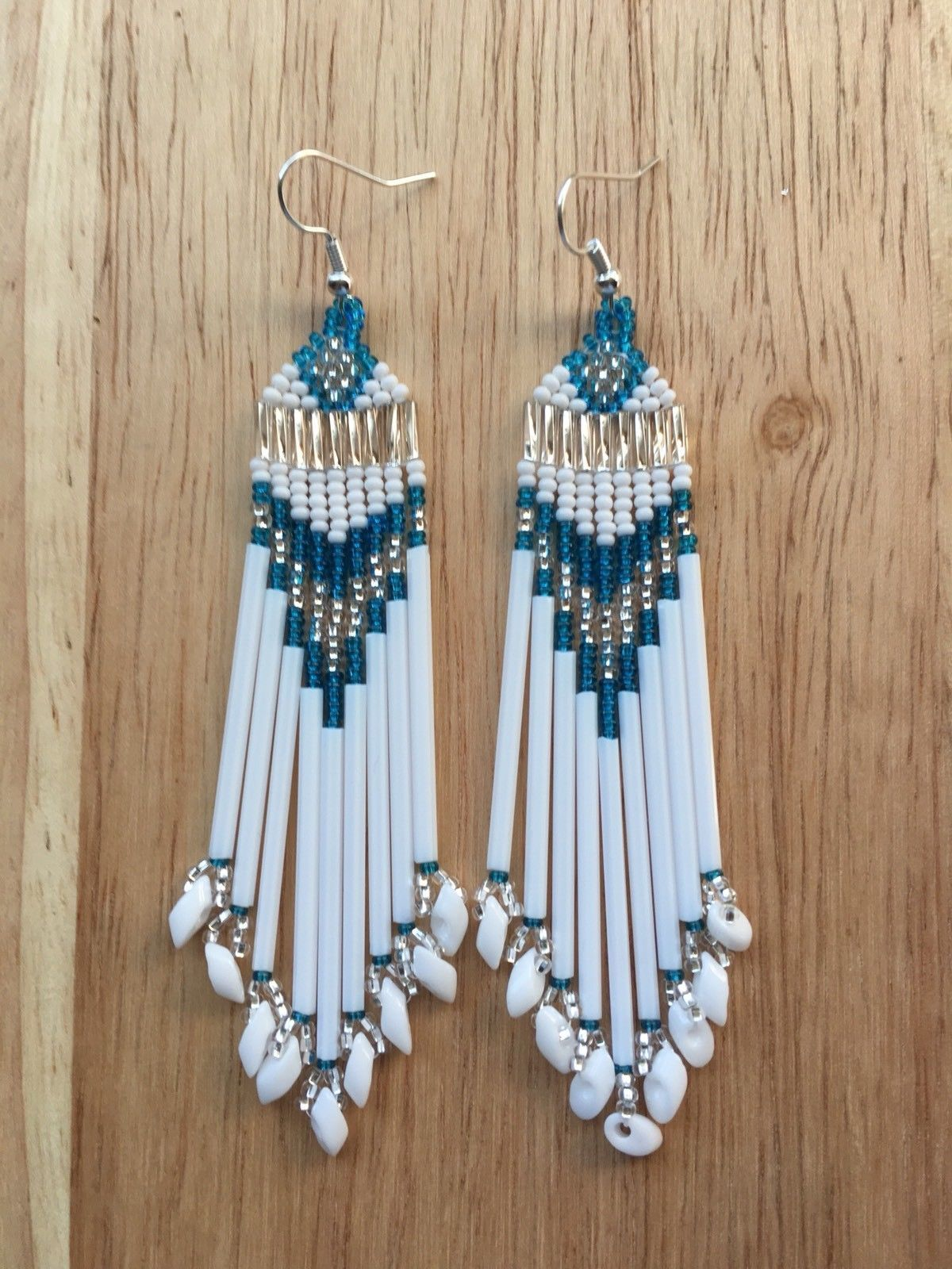 "Native American Style 4"" Long Beaded Earrings • 13.99"