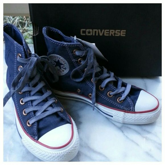 532286728216 Converse Distressed Denim Hi Top Sneaker Soft distressed denim upper with  white topstitching and rubber sole. Laces dyed to match. Unisex sizing  3.5 5.5.