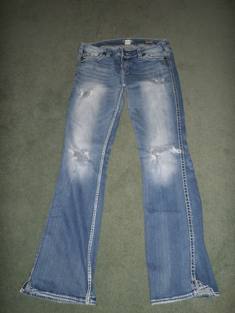 Women's Blue SILVER JEANS TWISTED Boot Cut Distressed Jeans, Size ...