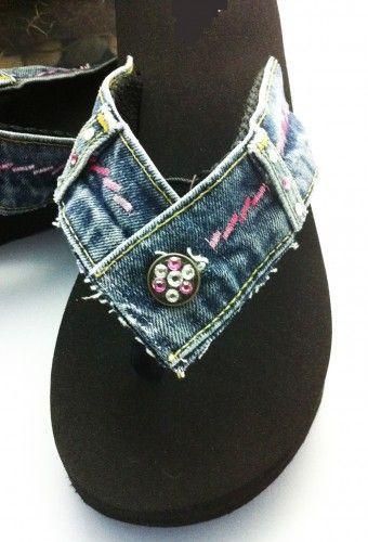 Denim Flip Flop  Reclaimed Denim Blue Jeans Swarovski Crystals Recycled Rubber