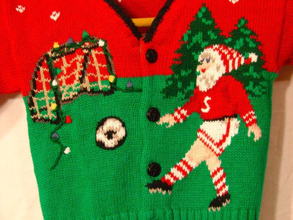 soccer santa childrens ugly christmas sweater on etsy 1600 - Childrens Ugly Christmas Sweaters