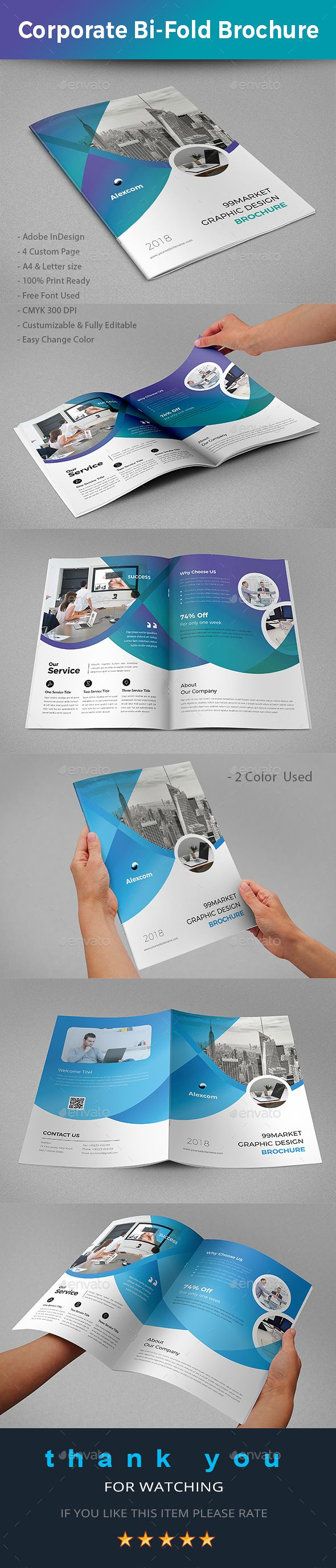 Corporate Bi Fold Brochure Template Indesign Indd A4 Us Letter