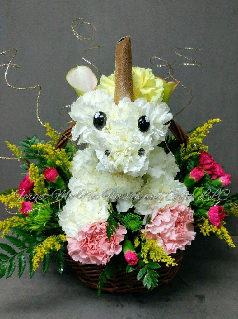 Carnations Unicorn Basket By Forget Me Not Flowers And Gifts