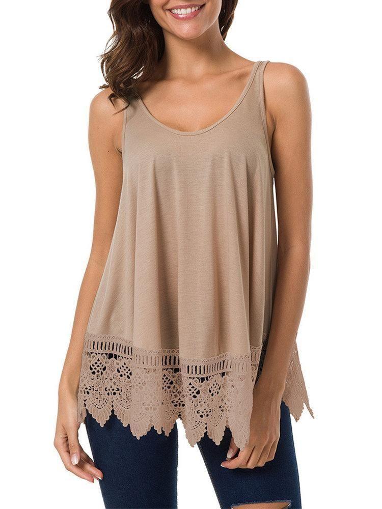 Damen Weste Womens Lace Casual /ärmellose Bluse aush/öhlen Patchwork Tank Top Hemd Sweatshirt Oberteil Shirts