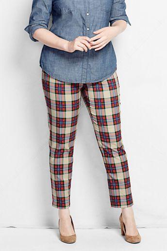89727db220282 I m a sucker for plaid pants! Plus Size Tartan Slim Leg Pants