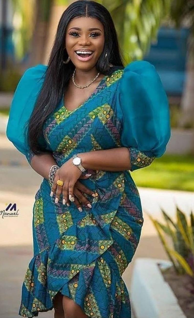African ankara asymmetric dress, Ankara dress for