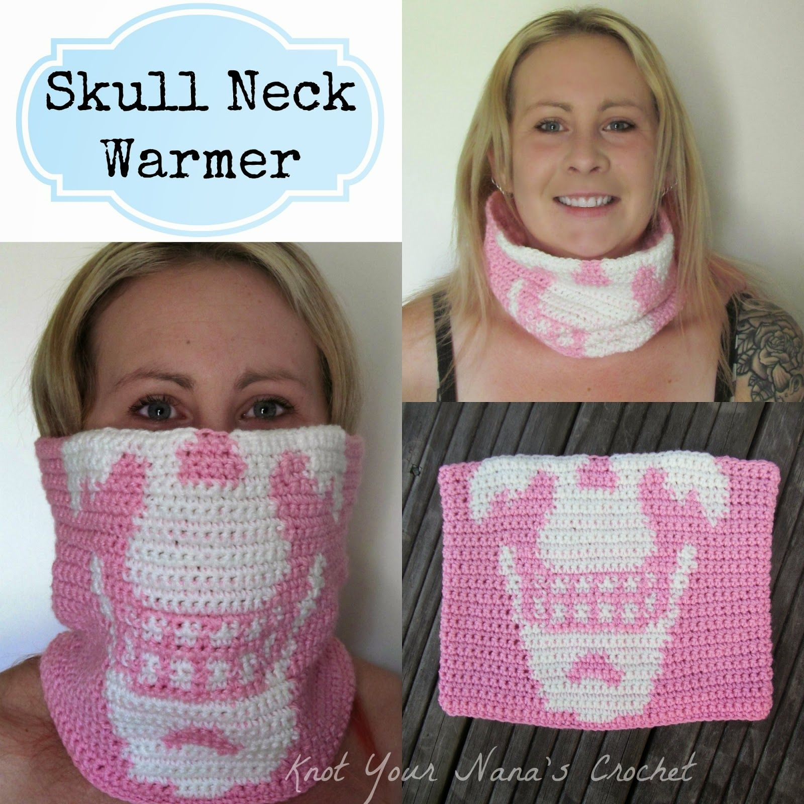 Free crochet pattern for a crochet skull neck warmer by Knot Your ...
