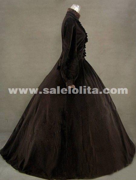 2016 Elegant Brown Vintage Long Sleeve Ruffles 17th 18th Century Renaissance Dresses Medieval Civil War Victorian Ball Gowns