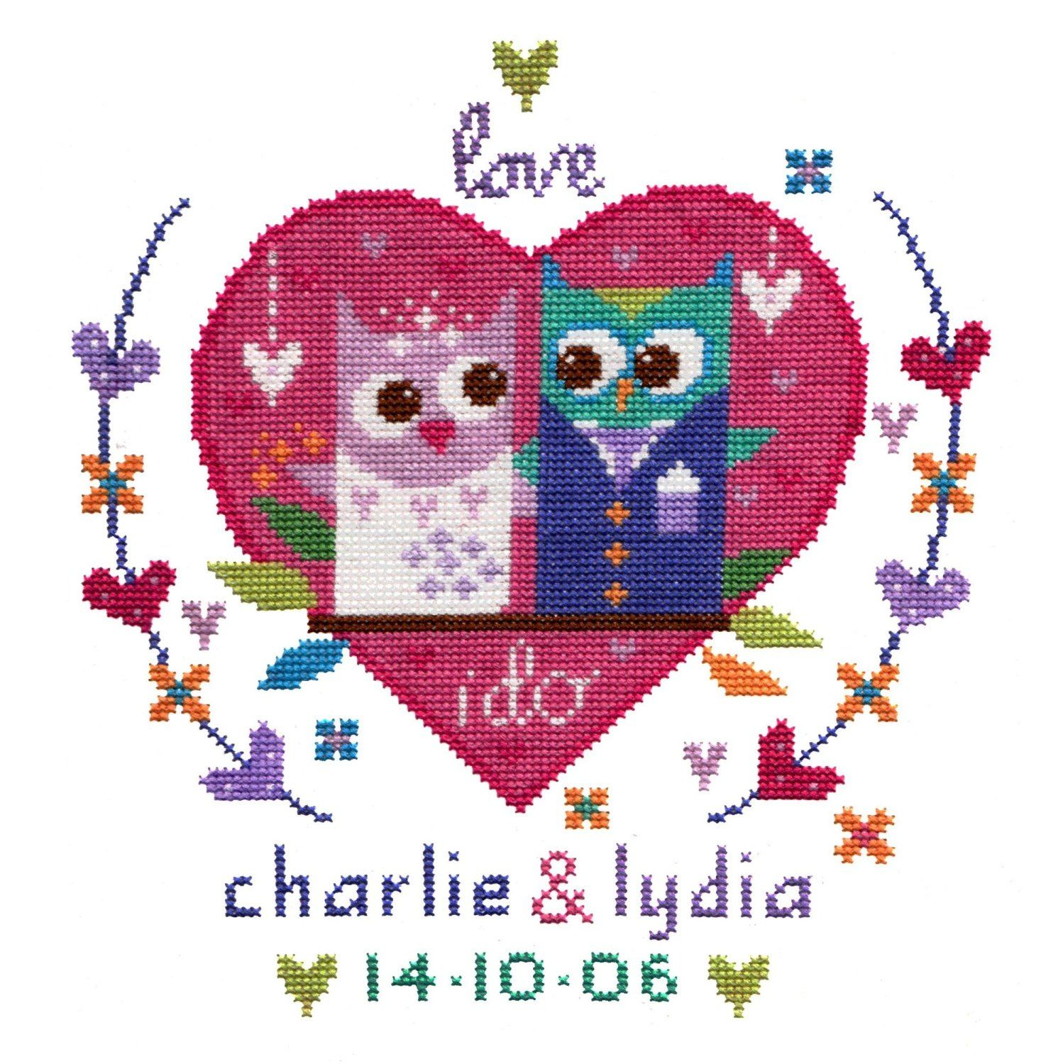 The Stitching Shed Owl Wedding Sampler Counted Cross Stitch kit