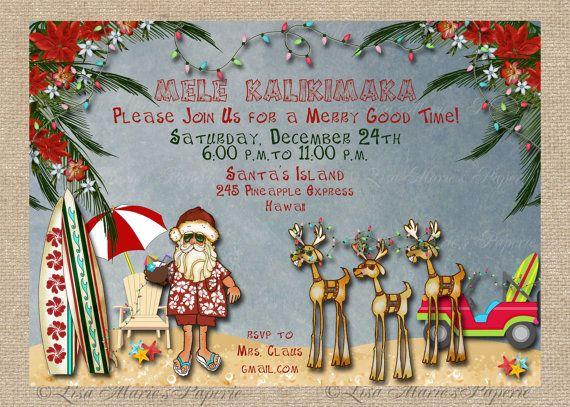 Hawaiian Christmas Party Invitation Invite