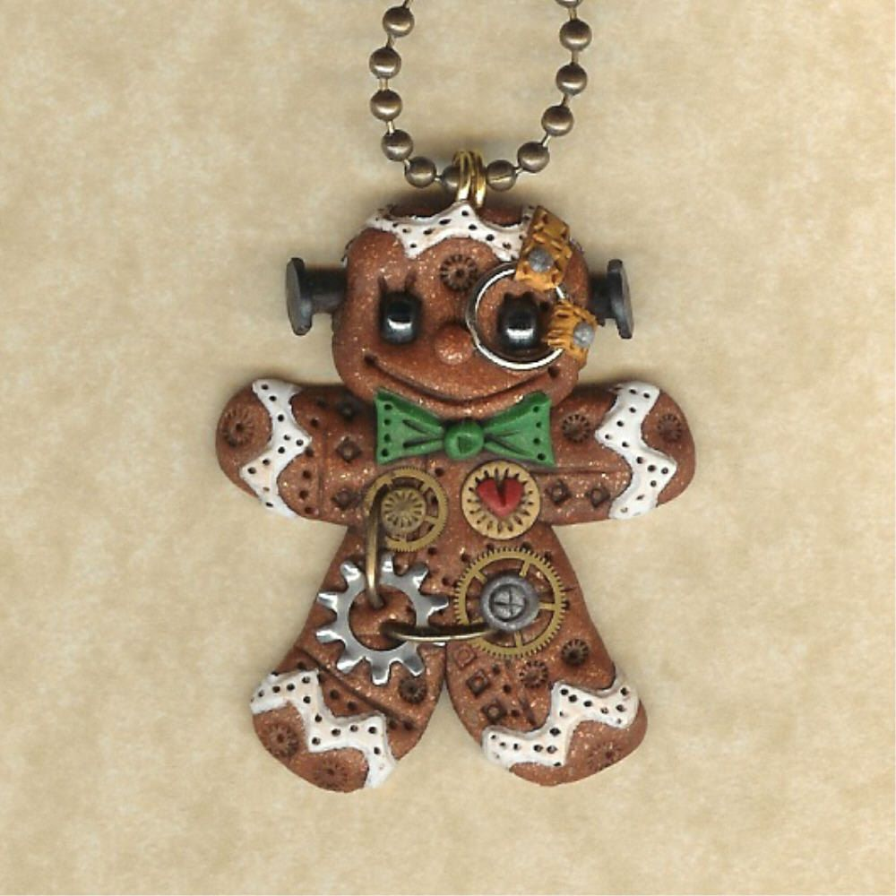 Is Steampunk Jewelry A Craft Or An Art: Steampunk Christmas Gingerbread Man Robot Jewelry By