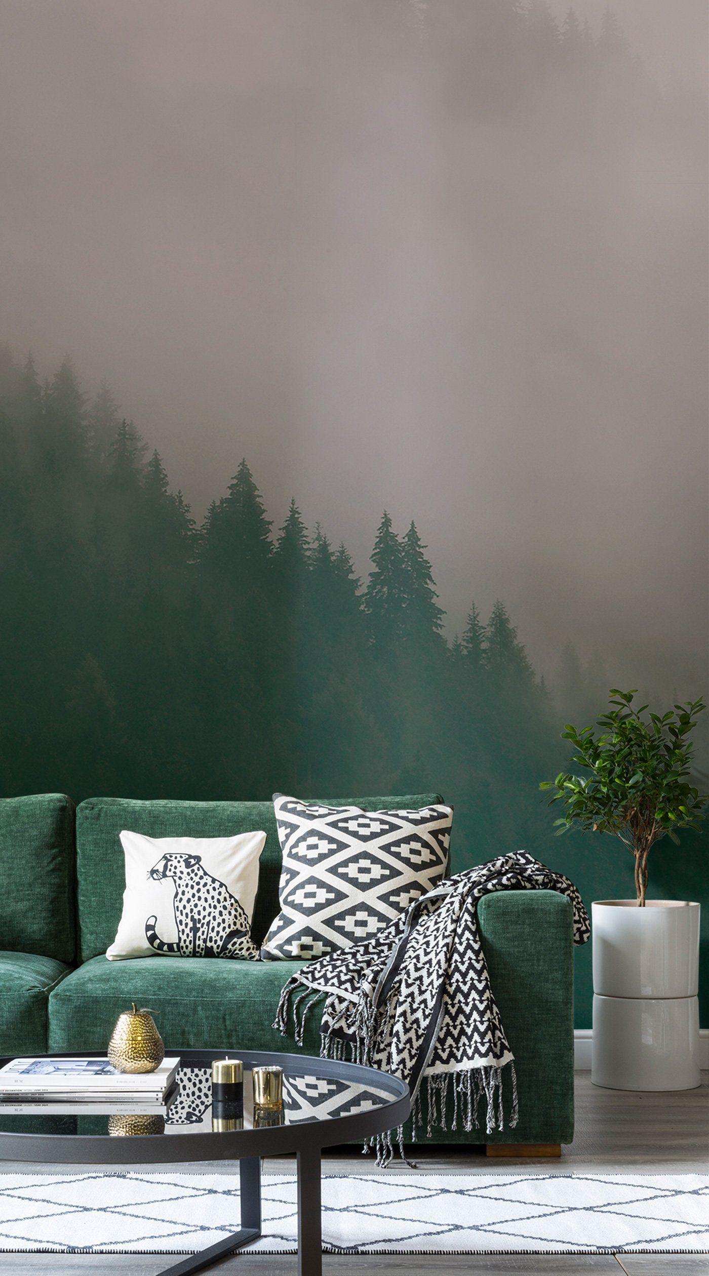 Tree Design Wallpaper Living Room: Living Room Green, Living Room