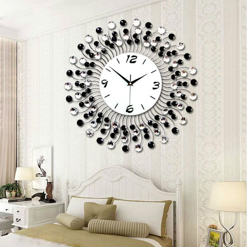 3d Big Size Wall Clock With Diamond Home Decoration Ideas Clock Wall Decor Modern Classic Living Room Diamond Wall