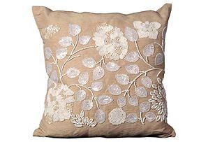 Beaded 20x20 Pillow, Beige