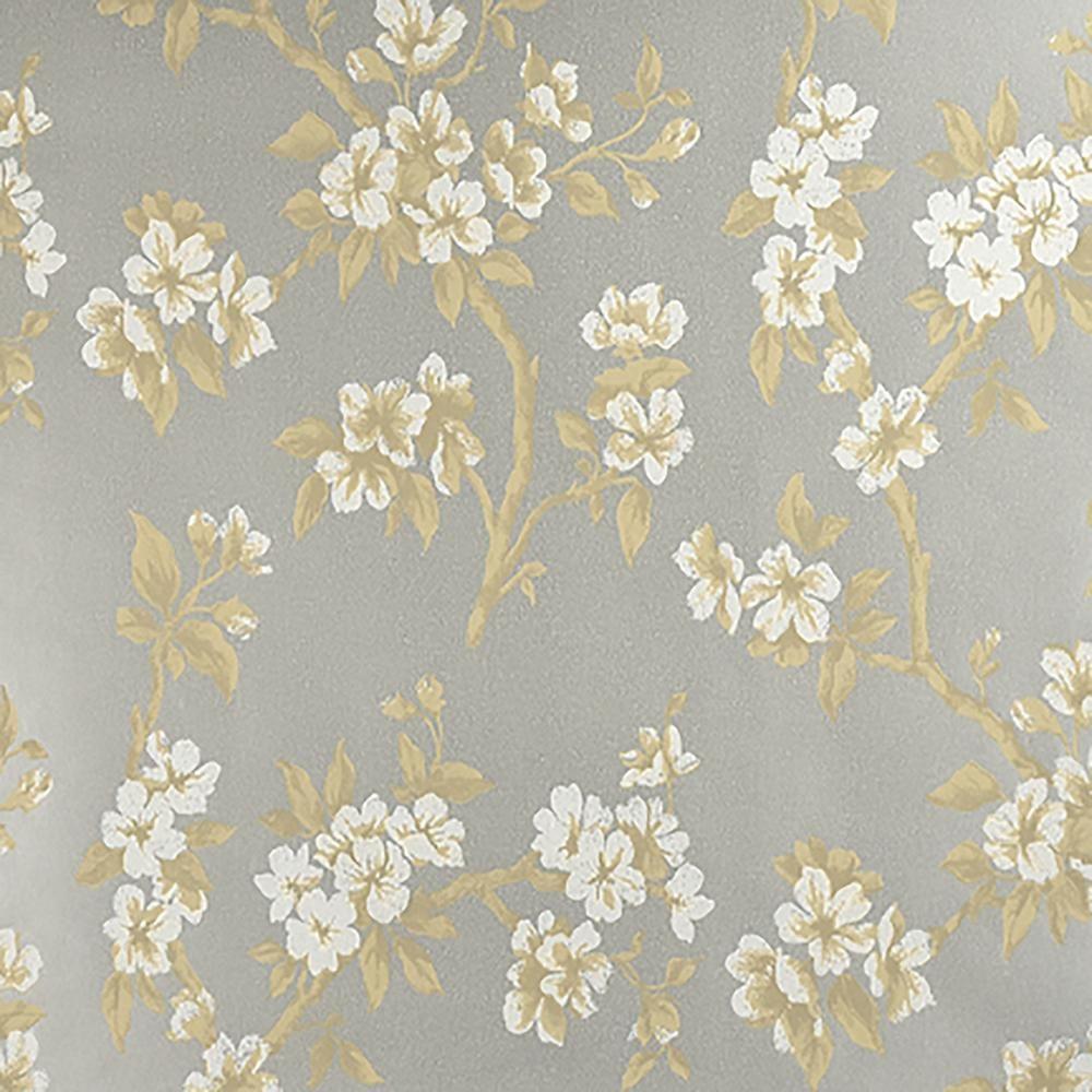 Advantage 8 In X 10 In Ellen Silver Floral Wallpaper Sample
