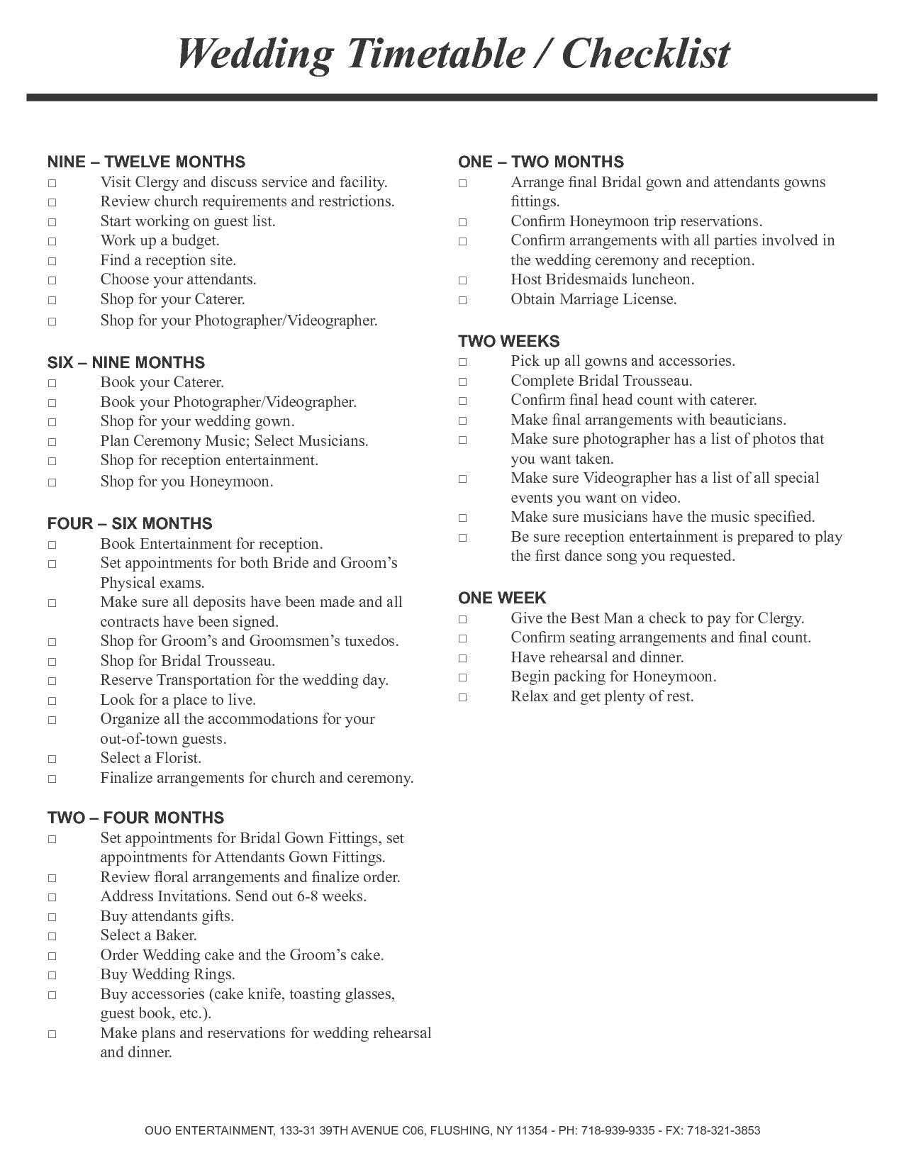 Wedding Ceremony Checklist Timetable