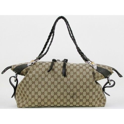 Gucci Beige And Ebony Gg Fabric Bamboo Bar Large Shoulder Bag Authentic Gently Used Handbags