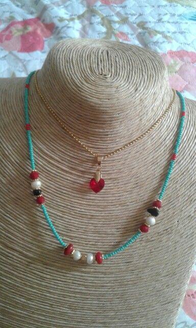 cfab036fc28c Collar doble chaquiras con cristales de murano y perlas .
